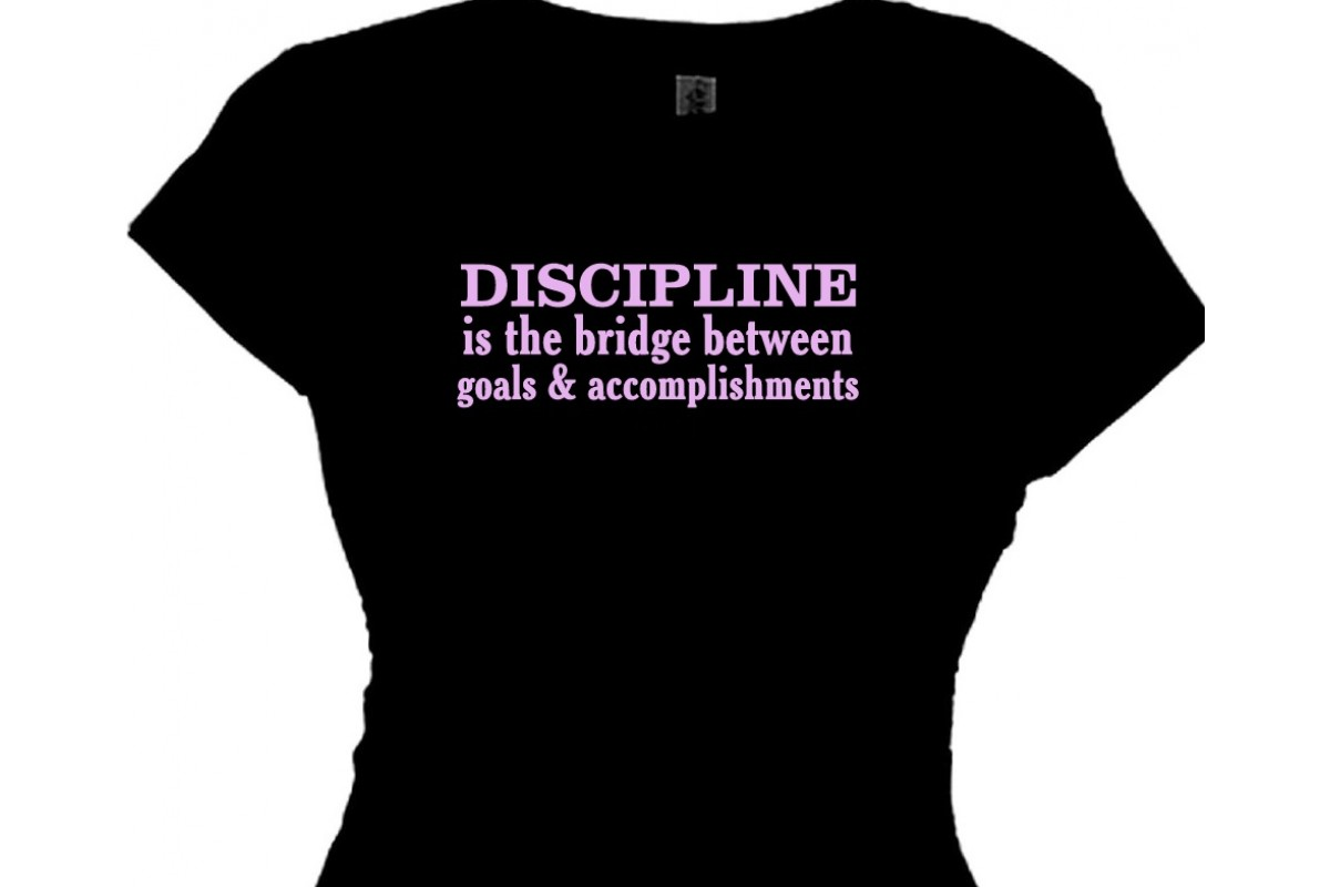 fitness trainers know it s really about improving yourself discipline is the bridge between goals accomplishments tshirt