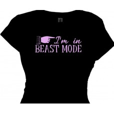 Women's Fitness T Shirt Saying - I'm in BEAST MODE