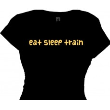 Eat Sleep Train Weight Lifting Tee | Girls Weight Training T-Shirt