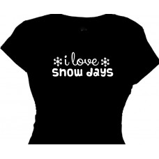 I Love Snow Days - Girls Skiing T-Shirt