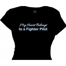 My Heart Belongs To A Fighter Pilot - T-Shirt For Girls