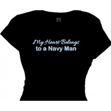 My Heart Belongs To A Navy Man - Tee for Girls and Women